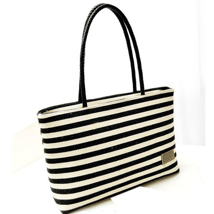 2015 New Fashion Women Hangbag Black&White Stripe Canvas Bag Vintage Fashion All-Match Handbag Bolsa Feminina Wholesale Freeship(China (Mainland))