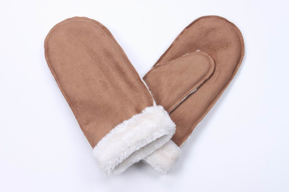 Brown cashmere / short plush composite wrap 2015New Fashion Outdoor sports gloves White collar wool mintten(China (Mainland))