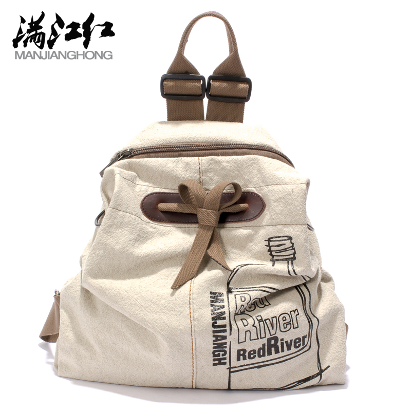 2016 New Design Cotton Unisex Backpack Cute Bow Multifunction Shoulder Messenger Rucksack Casual Travel Bags School Bag Mochila(China (Mainland))