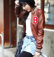 Now American flag standard women's slim short design leather clothing.women coat.fur jacket free shipping(China (Mainland))