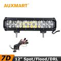 Auxmart 7D LED Work Light 12 inch 120W CREE Chips Flood Spot Beam Cross DRL Light