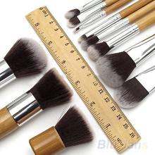 11Pcs Wood Handle Makeup brushes Cosmetic Eyeshadow Foundation Concealer Brush Set