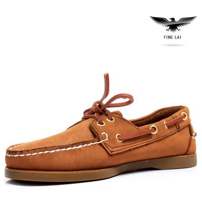 Мода Натуральная Кожа Мужчины Лодка обувь, Кружево-Up Повседневная Натуральная кожа ...