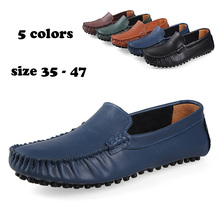 Genuine leather handmade men flat shoes,2014 men summer original brand Loafers Moccasins shoes for men(China (Mainland))