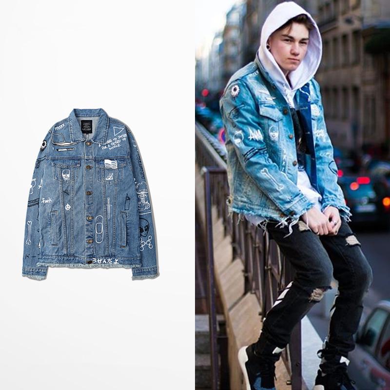 C2H4 LA GRAFFITI JACKET men Long sleeve hip-hop relaxation chaqueta hombre denim jacket Streetwear FOR Fear Of God men jacket(China (Mainland))