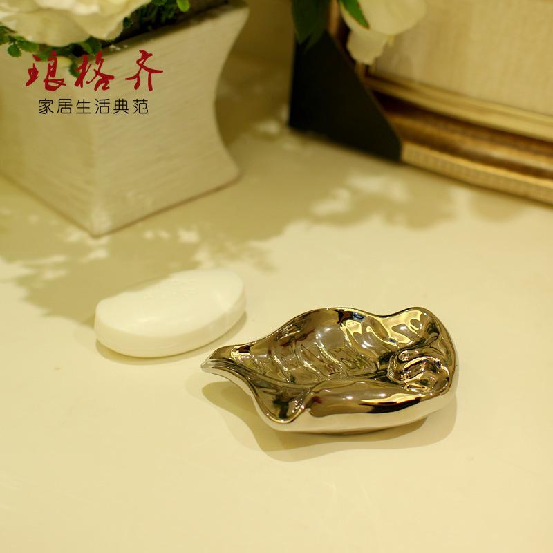 National free shipping Jingdezhen Ceramic Art bathroom soap dish soap dish silver leaf boat(China (Mainland))