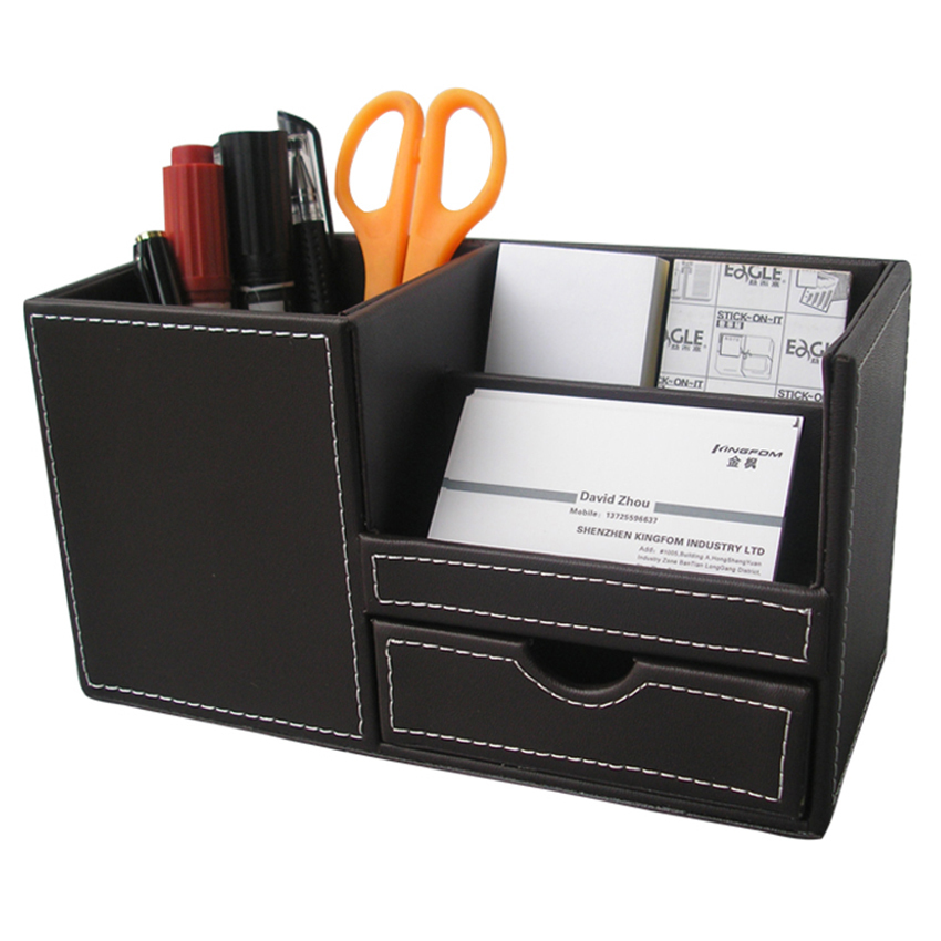 Leather desk multi function stationery organizer pen - Desk stationery organizer ...