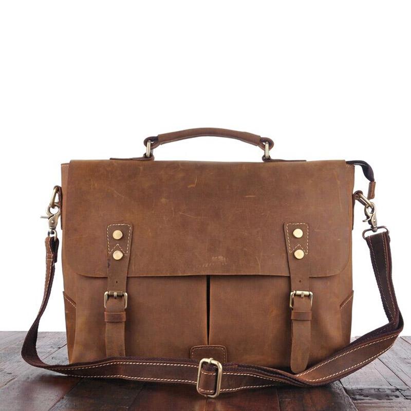 Фотография Vintage Genuine Crazy Horse Leather Brown messenger bags Shoulder bag Men