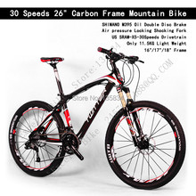 "Light weight Only 11KG!! High Quality 30 Speeds 26"" Carbon Frame Mountain Bike Carbon Bike Bicicleta  Carbon Fiber Complete Bike(China (Mainland))"