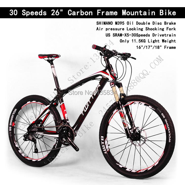 "Light weight Only 11KG!! High Quality 30 Speeds 26"" Carbon Frame Mountain Bike Carbon Bike Bicicleta Carbon Fiber Complete Bike(China (Mainland))"