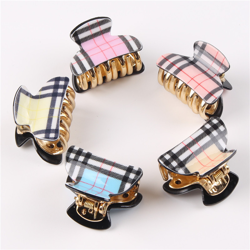 New Hair Accessories Korean Style Hair Pins Plastic Plaid Hair Claws Girls Headwear 5pcs/lot HB046(China (Mainland))