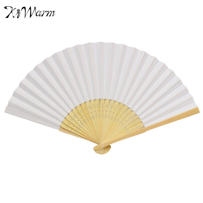 DIY White Chinese Folding Bamboo Fan Retro Hand Paper Fans Blank Page Drawing Wedding Dancing Props DIY Handmade Crafts Gift(China (Mainland))
