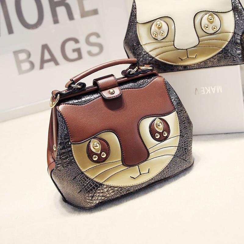 2015 PU  bag messenger bag vintage color block cat patchwork doctor bag portable womens handbag<br><br>Aliexpress