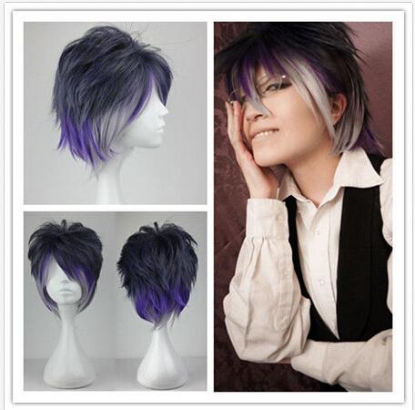 Short layered Diabolik Lovers Color Mixed Anime Cosplay Wig + free trac No 199A(China (Mainland))