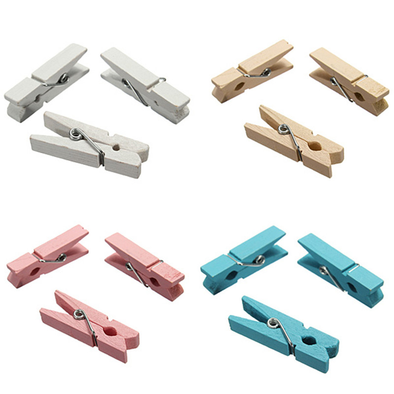 2016 Hot Sale 20Pcs Mini Cute 3.5cm Wooden Photo Meno Clothes Holder Clips Craft Natural Wood Pegs 4 Colours(China (Mainland))