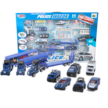 Happy Cherry DiBang 1:72 Scale Diecast Metal Police Wagon Vehicle Helicopter Mini Cop Cars Model Toys Sets