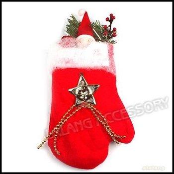 3pcs/lot New Non-woven Christmas Tree Decoration Red Glove Shape 25x13cm 260033