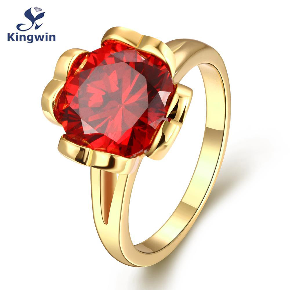 New Italy designer women gold ring 18k plated fashion jewelry lab ruby red cz diamond Anniversary January birthday gift(China (Mainland))