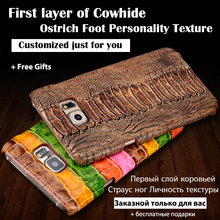 Back Case For Sony Xperia C5 Top Quality Luxury Ostrich Leg Texture Cowhide Genuine Leather Customize Mobile Phone Rear Cover