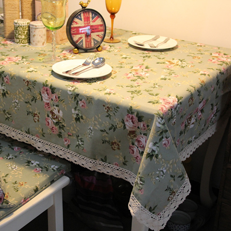 New Pastoral Flower Printed Linen Woven Tablecloths Lace Square Home Banquet Table Cloth On The Table(China (Mainland))