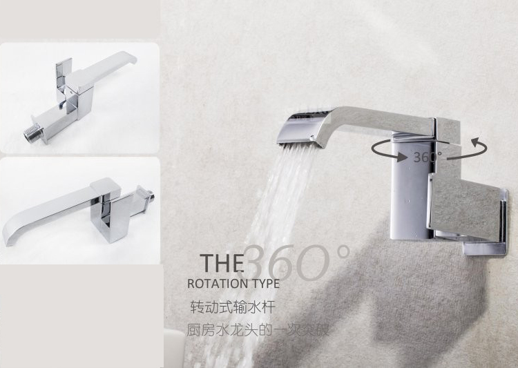Wall Mounted Modern Square Tap Single Cold Water Kitchen Bathroom Basin Vessel Sink Faucet