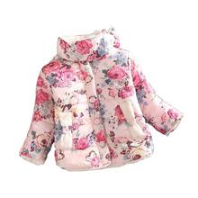 girls warm coat 2015 new baby winter long sleeve flower jacket children cotton padded clothes kids