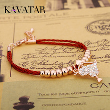 KAVATAR Brand Chinese Lucky Red Bangle Crystal Love Heart Cupid's Arrow Beads Red Rope Bracelets Women Fashion Jewelry(China (Mainland))