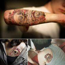 Waterproof Punk Skull Temporary Tatto For Women Men Arm Sticker Sleeve Body Tattoo Shoulder Tattoos(China (Mainland))