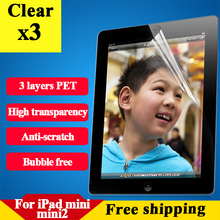 HD ultra clear screen protector for Ipad mini Ipad mini 2 anti-scratch protective film with package 3pcs/lot(China (Mainland))