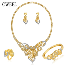 Gold Plated Jewelry Sets For Women Bridal Wedding Part Accessories Sliver Plated Rhinestone Necklace Ring Bracelet Stud Earrings(China (Mainland))
