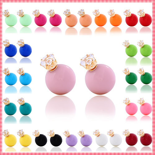 2015 Hot New Fashion Stud Earring Round Big Pearl Beads Earrings Crystal crown charm earring for women design jewelry (#ER061)(China (Mainland))