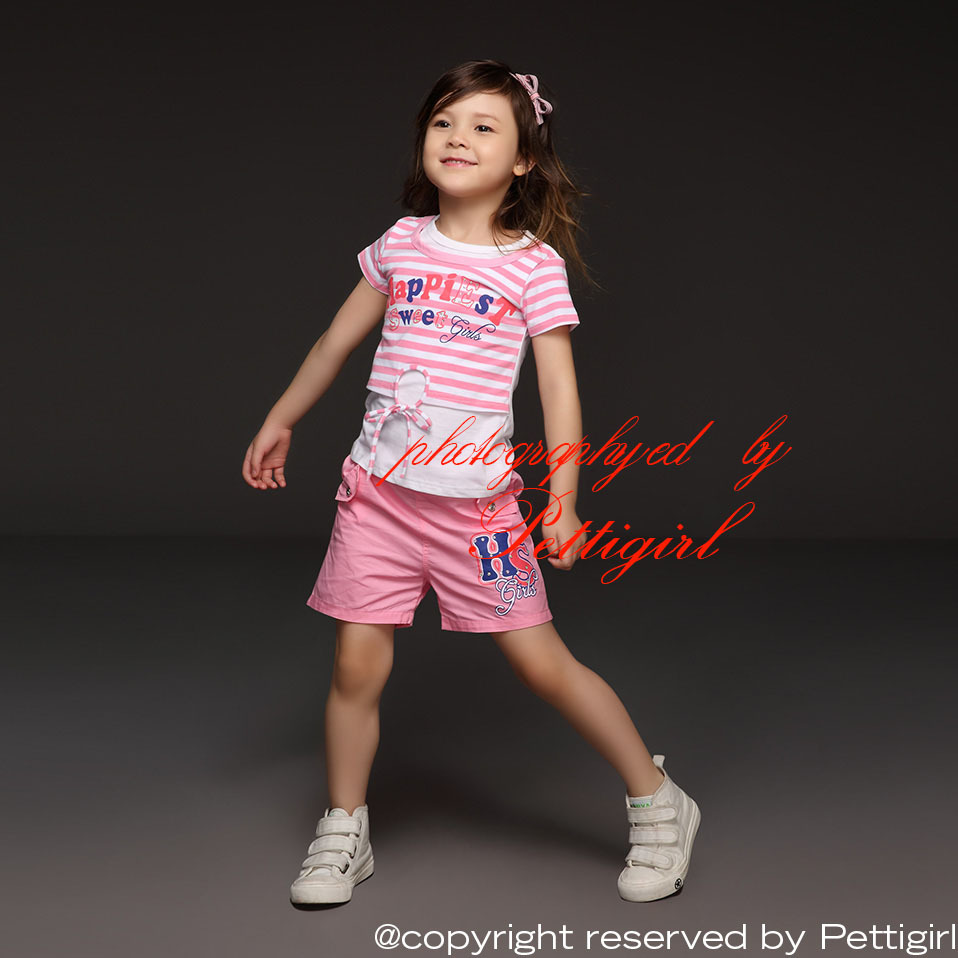 2015 Newest kids Girl Clothing Set Striped With Letter Printed T Shirt And Infant Pink Shorts For Children Clothes Suits(China (Mainland))