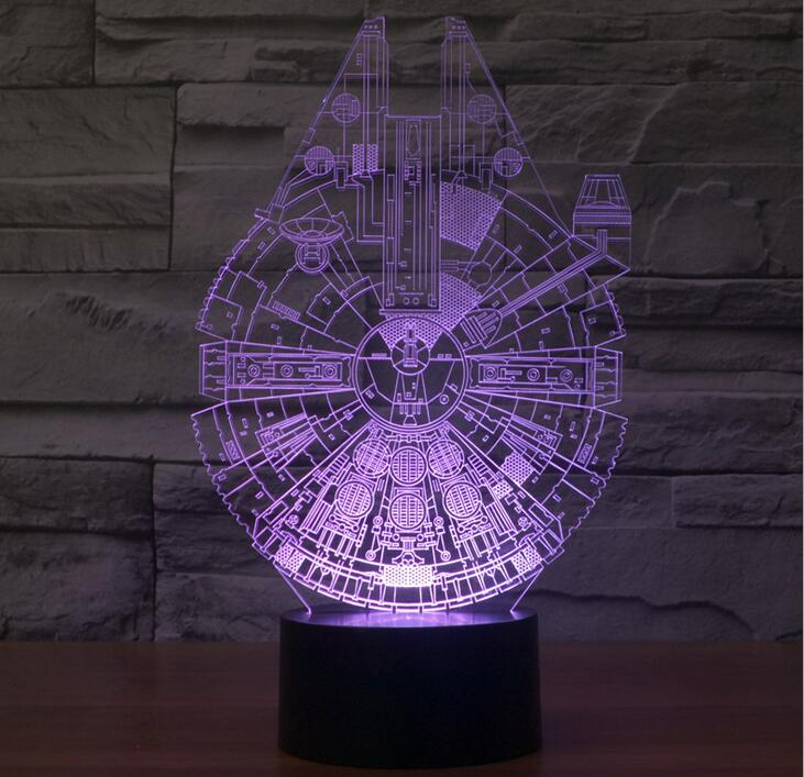 Creative Star Wars Millennium Falcon 3D LED Night Light Acrylic Colorful Gradient Atmosphere Lamp Novelty Lighting touch dimming(China (Mainland))