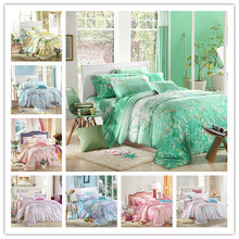 4pcs / set luxury beautiful flower printed 100% Tencel Silk bedding set queen king size summer style duvet cover set  silk(China (Mainland))