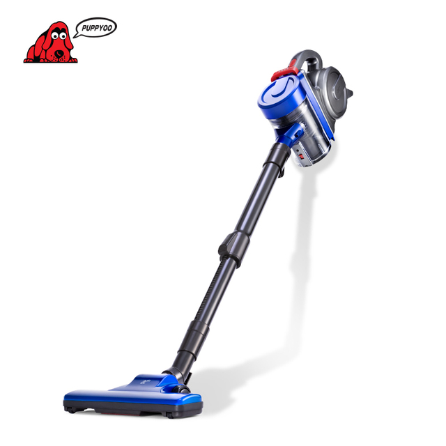PUPPYOO Low Noise Portable Rod Vacuum Cleaner Handheld Home Dust Powerful Collector Household Aspirator Black&Blue WP3009
