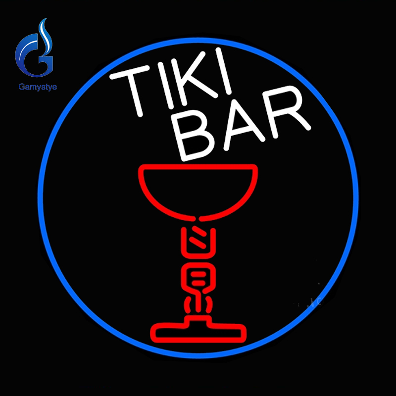 Neon Sign Tiki Bar Martinii Glass Tube Neon Sign Lamp Logo Neon Glass Light Art Handcrafted Publicidad Affiche Neon Indoor 24x24(China (Mainland))