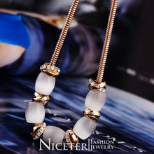NICETER Free Shipping 18K Rose Gold Plated White Opal Bead Necklace For Women Wedding Accessories Jewelry(China (Mainland))