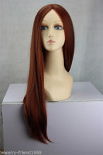 Wholesale& heat resistant LY free shipping>>>New Cosplay Long Copper Red/Brown Mix lady's Sexy Straight Wig