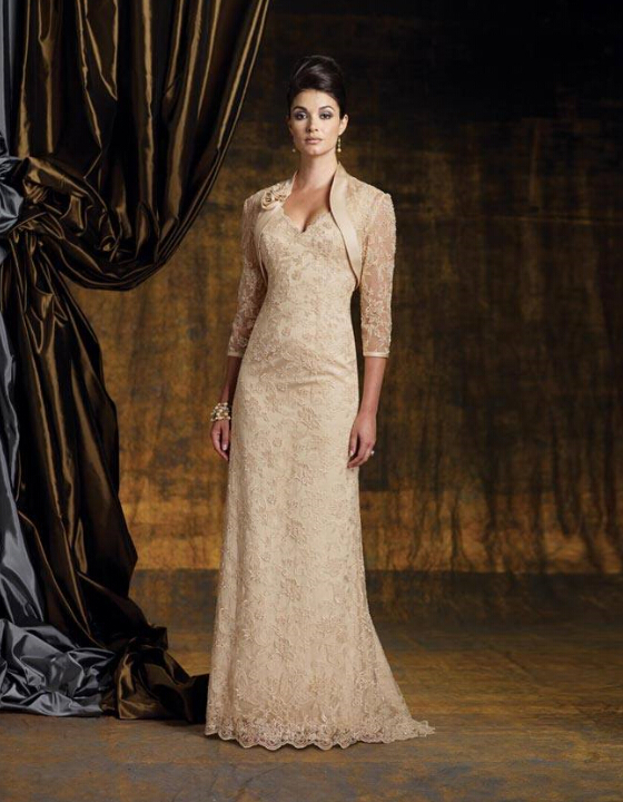 Champagne mother of the bride groom lace dresses pant for Long dress for wedding mother of the bride