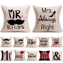 Buy 1Pcs Mr&Mrs Pattern Cotton Linen Throw Pillow Cushion Cover Seat Car Home Decoration Sofa Car Decor Decorative Pillowcase 40172 for $1.99 in AliExpress store