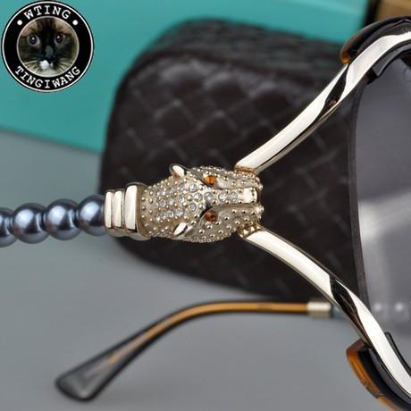 2015 new leopard eyewear fashion CZ diamond black pearl sunglasses brand large frame eyeglasses women trendy big sun glasses - A-Zed Luxury Eyeglasses store