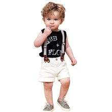 2015 Fashion Summer Children Boys Clothes Letter Print Tank Tops Casual Roll Up Shorts With Suspender Two Piece Clothing Set(China (Mainland))
