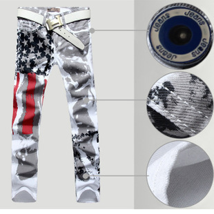 Hot sales 2015 New men's American flag jeans Brand famous Men Skinny Trousers Stretch Slim thin Mens Print Jeans Painted Pants(China (Mainland))