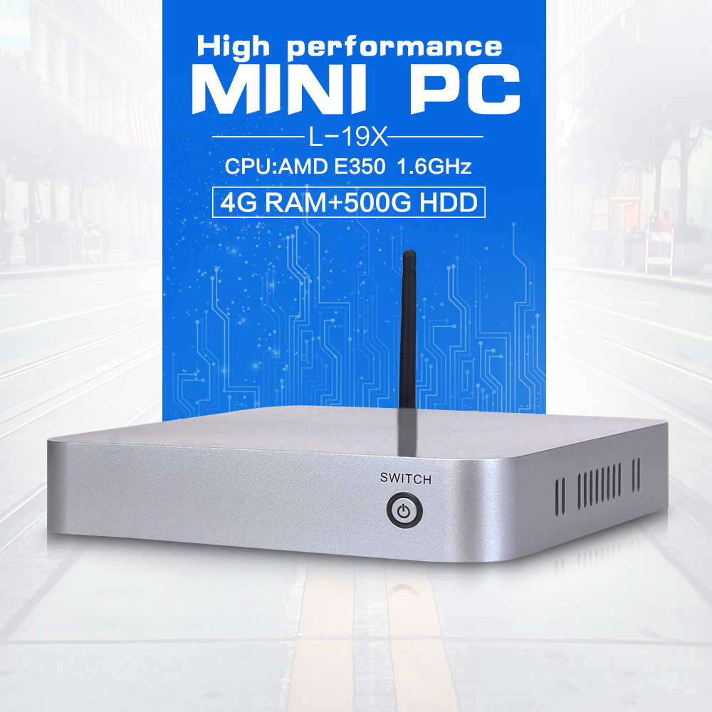 Factory Price L19X E350 4G RAM 500G HDD Thin Mini Itx Fanless i5 Fanless Desktop PC Support MIC Mini Computer(China (Mainland))
