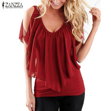 Buy ZANZEA Women 2017 Summer Blusas Sexy Shoulder V Neck Splicing Chiffon Solid Blouses Shirts Fashion Plus Size Tee Tops for $7.66 in AliExpress store