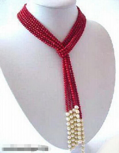 """FREE SHIPPING>>>Excellent Real Coral White Pearl 25"""" Necklace(China (Mainland))"""