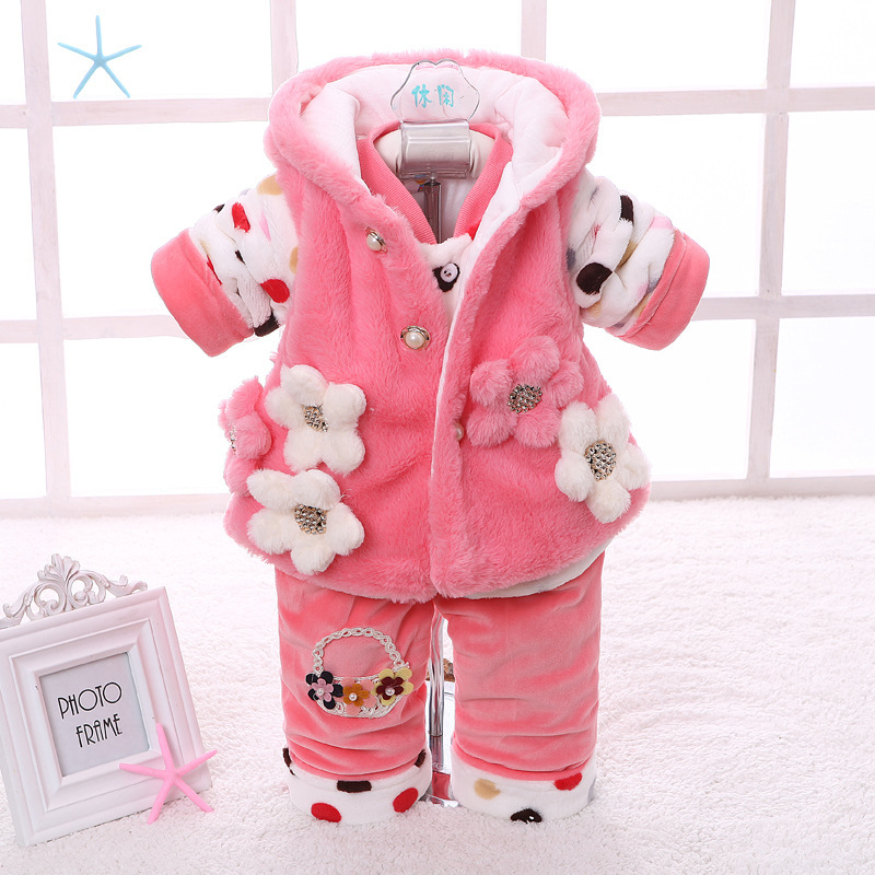winter new born infant baby girl clothes clothing set sets 3 pieces pcs floral pink yellow sweet cute princess(China (Mainland))