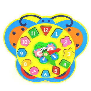 Wooden early learning toy butterfly snail digital clock shape puzzle shape digital(China (Mainland))