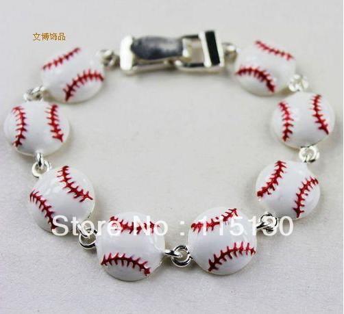 New Arrival Lovely White Enamel Baseball Beads Charm Bracelets Bangle Silver Plated Chain  Bracelet Fashion Jewelry Wholesale<br><br>Aliexpress