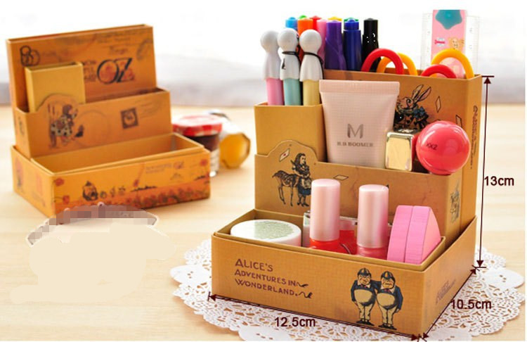 Prince fairy tales illustrations Desktop receive box DIY paper store Multifunction Makeup Cosmetic Container free shipping(China (Mainland))
